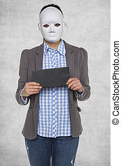 Business woman in a mask, bribe in her hands