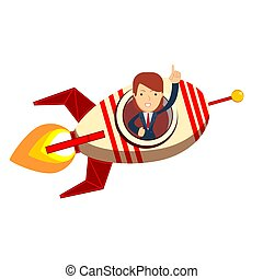 Business woman in a rocket. Business Start up concept.