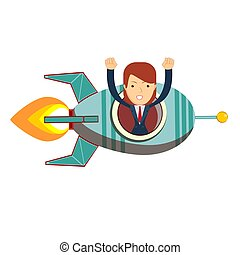 Business woman in a rocket. Business Start up concept. Vector flat illustration