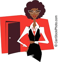 Business woman in a suit and glasses points a finger at the door.