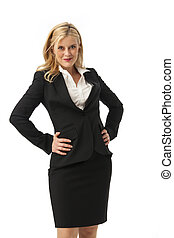business woman in black on white