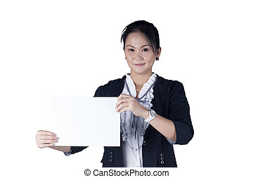 Business woman in black suit holding a blank sign board