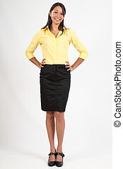 Business woman in blouse and skirt - Smiling young business...