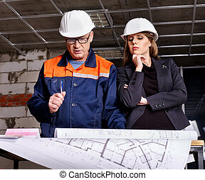 Business woman in builder helmet . - Business woman in...