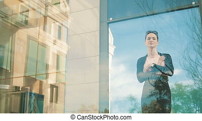 Business Woman in front of office building