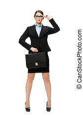 Business woman in glasses handing case