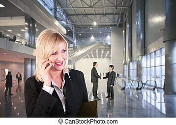 business woman in hall collage