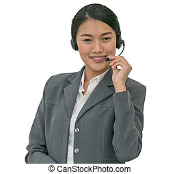 Business woman in headsets. isolated background with clipping path.