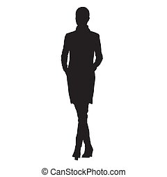 Business woman in jacket with hands in her pockets walking, isolated vector silhouette, front view