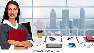 Business woman in modern office.