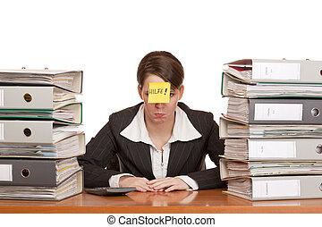 business woman in office between folder stacks needs help