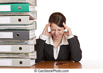 Business woman in office has migraine because of stress