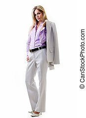 Business woman in pant suit - Fulll body of an attractive ...