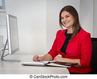 Business Woman In Red Waist Coat Writing Notes - Office...