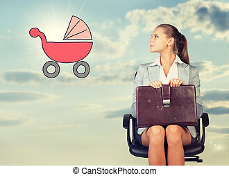 Business woman in skirt, blouse and jacket, sitting on chair, holding briefcase imagines buggy. Against background of sky, clouds