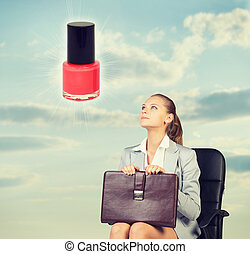 Business woman in skirt, blouse and jacket, sitting on chair imagines nail polish. Against background of sky, clouds