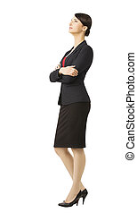 Business woman in suit, isolated over white background