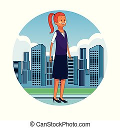 Business woman in the city
