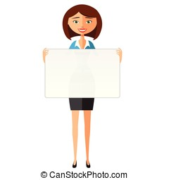 Business woman in the suit holding blank sign.