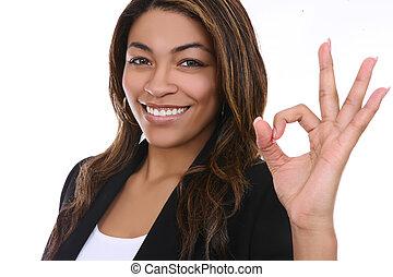 Business Woman Indicating Success