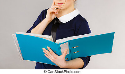 Business woman intensive thinking