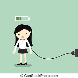 Business woman is charging battery. - Business concept,...
