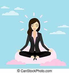 Business woman is meditating and relaxing with cloud computing in lotus pose