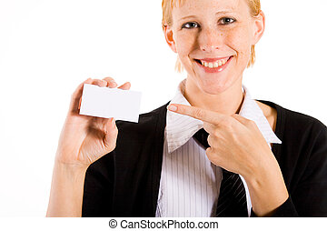 Business woman is pointing to her card