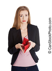 Business woman is showing her empty wallet.