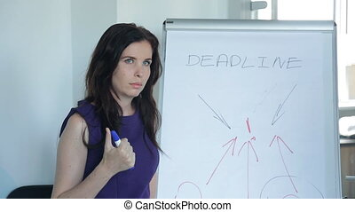 Business woman is trying to finish work before deadline.