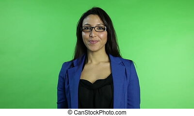 business woman isolated on green screen confident interview