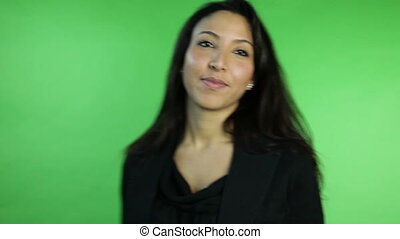 business woman isolated on green screen fingers crossed