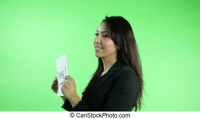 business woman isolated on green screen grateful