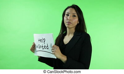 business woman isolated on green screen help wanted
