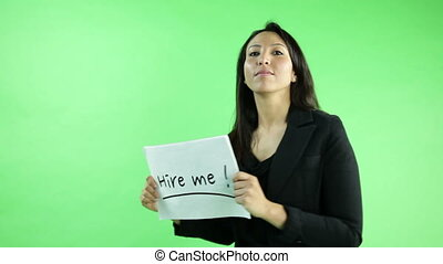 business woman isolated on green screen looking for work