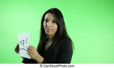 business woman isolated on green screen need help
