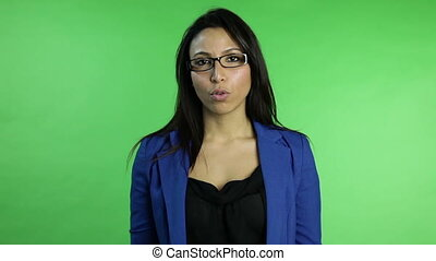 business woman isolated on green screen upset with interview
