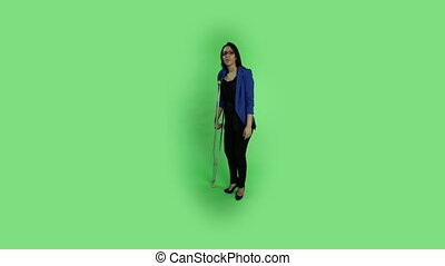 business woman isolated on green screen worried injured
