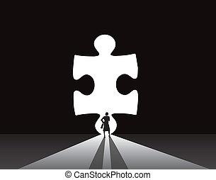 Business woman jigsaw puzzle door