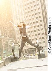 Business woman jump