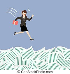 Business woman jump into a lot of documents