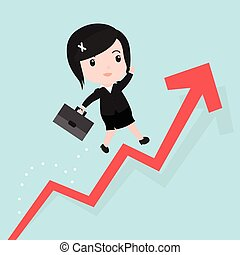 Business woman jump over growing chart, cartoon