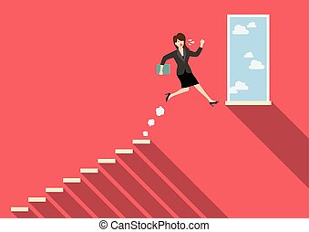 Business woman jumping to success