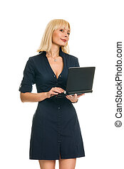 Business woman keeps the laptop