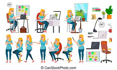 Business Woman Lady Character Vector. Working Female In...