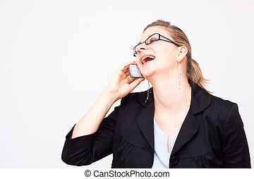 Business woman laughing