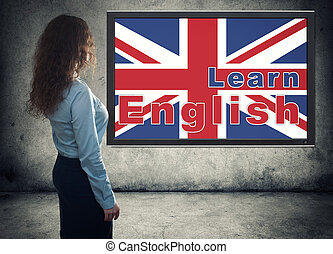 business woman. Learning english concept