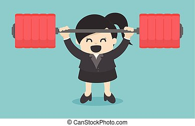business woman lifting a heavy Power human. Man holding a dumbbell. Vector illustration