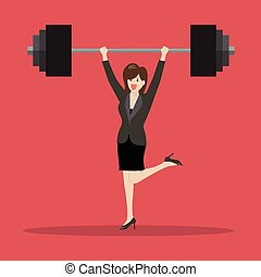 Business woman lifting a heavy weight