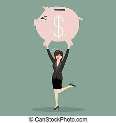 Business woman lifting a piggy bank